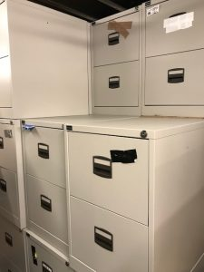 USED TWO DRAWER METAL FILING CABINET