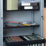 open bisley metal tambour cupboards
