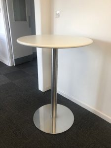 Poseur Table White /Stainless Steel
