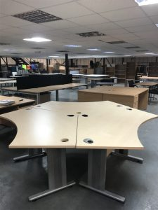 Used Cluster of 3 120 Degree Desks
