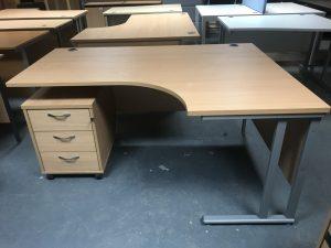 Used Beech Radial Corner Desk