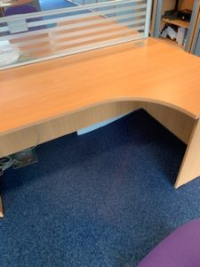 Used Radial Corner Desk with Drawers