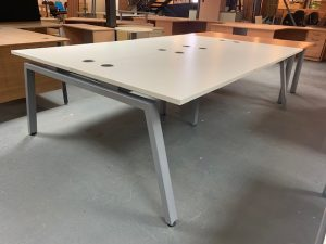 Used White Bench Desk Cluster of Four