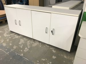 Used White Double Door Credenza Unit