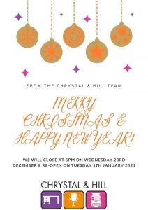Chrystal & Hill Glasgow Festive Closure