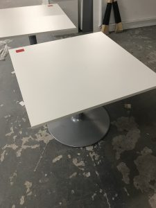 Used White Square Office Table