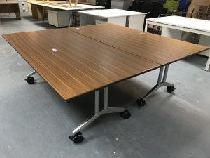 Used Walnut Veneer Flip Top Tables